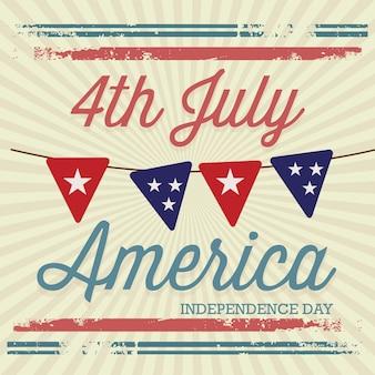 Estados unidos (cartel conmemorativo del 4 de julio) estilo vintage