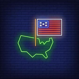 Estados unidos en el mapa de señal de neón