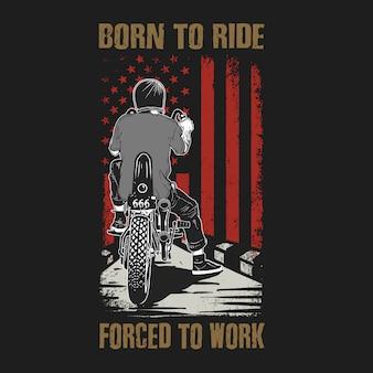 Estadounidense nacido para montar la fuerza para trabajar vector ilustración