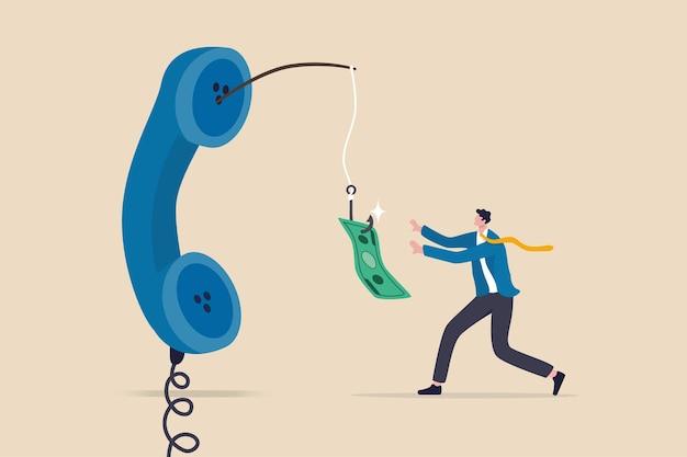 Estafa telefónica, llamada telefónica mintiendo sobre inversión falsa, fraude para robar dinero de la víctima, concepto de delito financiero, hombre codicioso persiguiendo cebo de dinero fácil de llamada telefónica de ladrón mintiendo para pagar estafas
