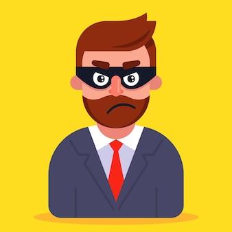 Un estafador con un traje de negocios y una máscara que oculta su rostro.