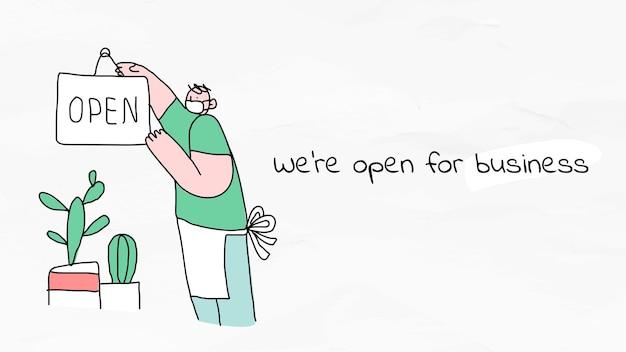 Estamos abiertos al nuevo cartel de doodle de estilo de vida normal de negocios