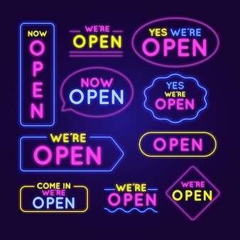 Estamos abiertos - colección de letreros de neón