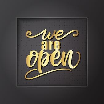 Estamos abiertos diseño de letras. ilustracion vectorial