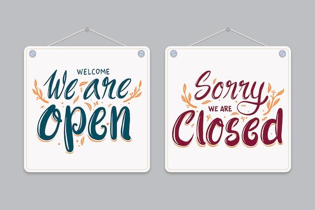 Estamos abiertos y estamos cerrados rotulación.