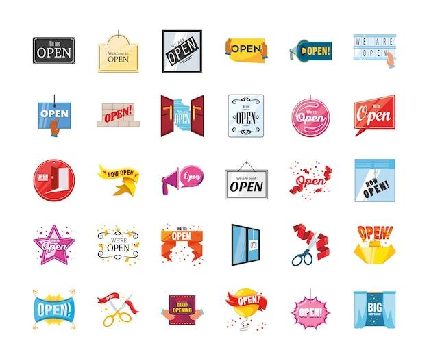 Estamos abiertos estilo detallado 30 diseño de conjunto de iconos de compras y virus covid 19