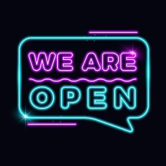 Estamos abiertos letrero de neón