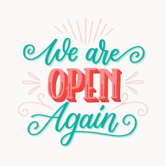 Estamos abiertos nuevamente concepto de letras