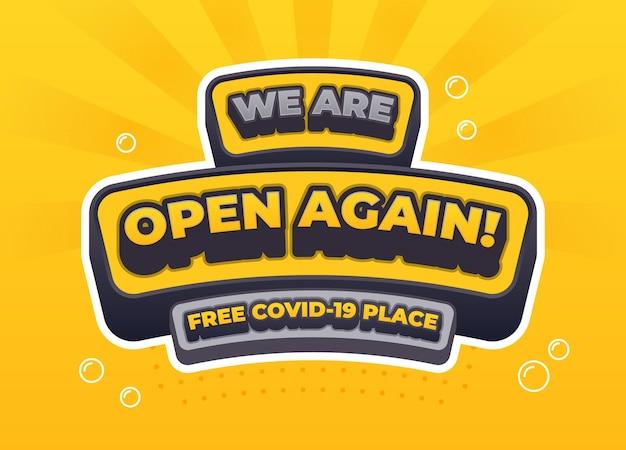 Estamos abiertos de nuevo firmar gratis vector de diseño de lugar covid19