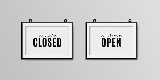 Estamos cerrados y estamos abiertos letrero realista.