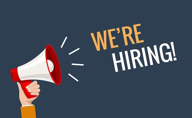 Estamos contratando ahora fondo de vector de oferta de trabajo de banner. ilustración de empleado de megáfono de promoción de contratación.