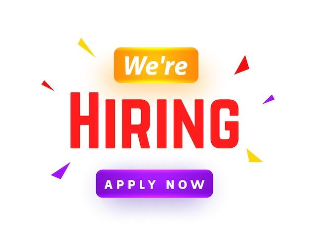 Estamos contratando antecedentes de mensaje de empleado de carrera. banner de concepto de contratación de trabajo de contratación de empleo.