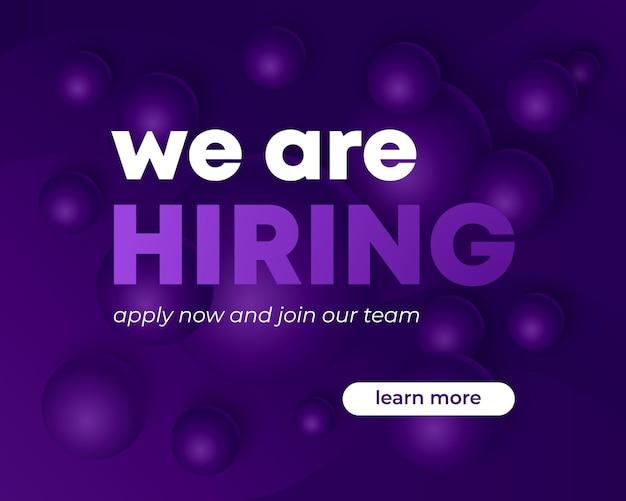 Estamos contratando banner, concepto de reclutamiento, diseño vectorial