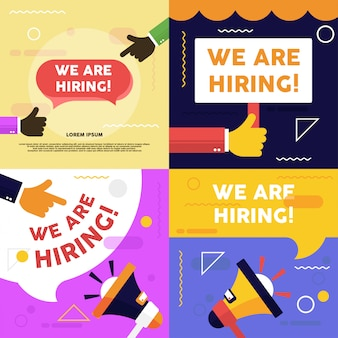 Estamos contratando banner vacante. ilustración de vacante de trabajo. proceso de reclutamiento