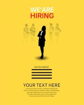 Estamos contratando cartel de trabajo con silueta de mujer.