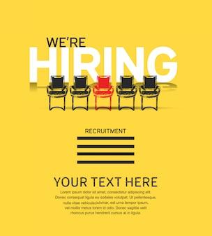 Estamos contratando concepto de cartel con ilustración de sillas.