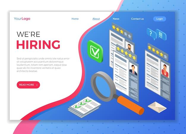 Estamos contratando concepto. empleo isométrico en línea, reclutamiento, verificar currículum con lupa y concepto de contratación. recursos humanos de la agencia de empleo de internet. plantilla de página de destino aislada