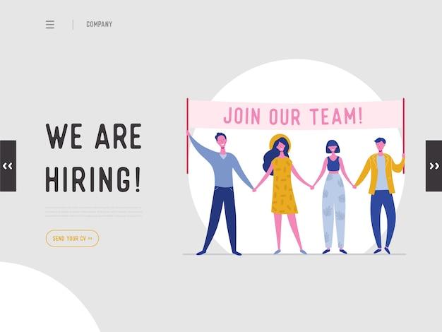 Estamos contratando el concepto de ilustración, personajes de personas de reclutamiento de trabajo con pancarta, para página de destino, plantilla de redes sociales, interfaz de usuario, diseño web, aplicación móvil, póster, folleto