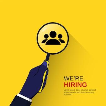Estamos contratando concepto mano sosteniendo lupa, ilustración de reclutamiento empresarial