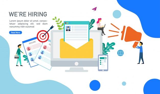 Estamos contratando y el concepto de reclutamiento en línea con personas pequeñas ilustración vectorial de caracteres.