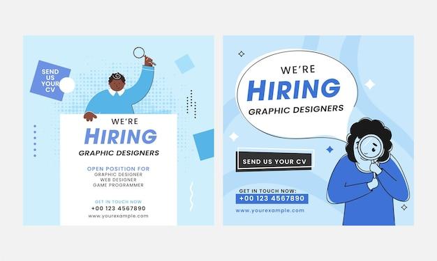 Estamos contratando el diseño de carteles de candidatos a diseñador gráfico en dos opciones.