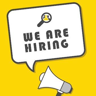 Estamos contratando diseño de ilustración de vector de cartel de reclutamiento