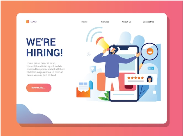 Estamos contratando un diseño de página de destino para la contratación abierta de un empleado o personal.