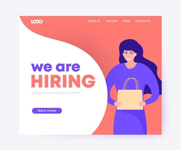 Estamos contratando diseño de página de destino con mensajería mujer.