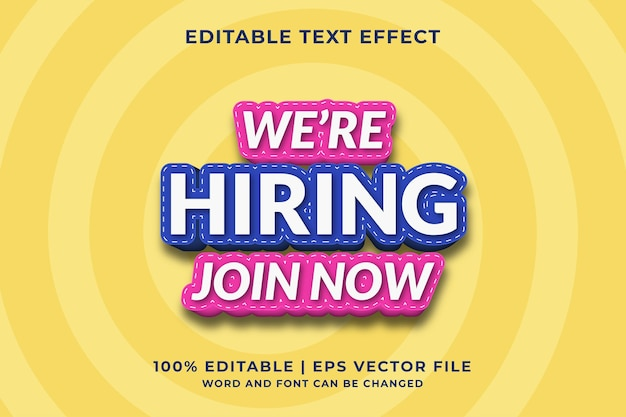 Estamos contratando efecto de texto editable 3d vector premium
