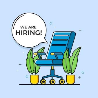 Estamos contratando empresas y reclutando con silla vector