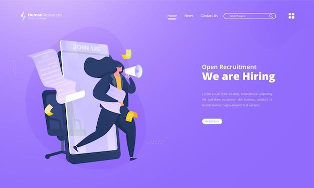 Estamos contratando ilustración para la contratación de recursos humanos en la página de destino.