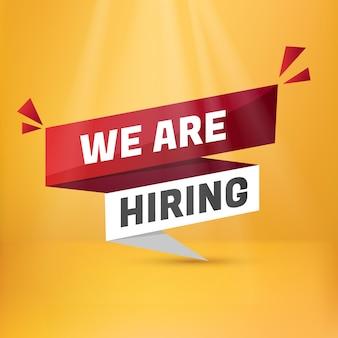 Estamos contratando letrero de etiqueta. plantilla de etiqueta de información de diseño de vacantes abiertas de contratación de contratación. etiqueta engomada del estilo de origami