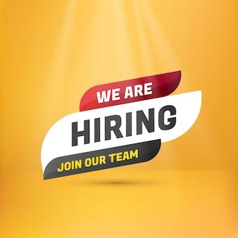 Estamos contratando letrero de etiqueta. plantilla de etiqueta de información de diseño de vacantes abiertas de contratación de contratación