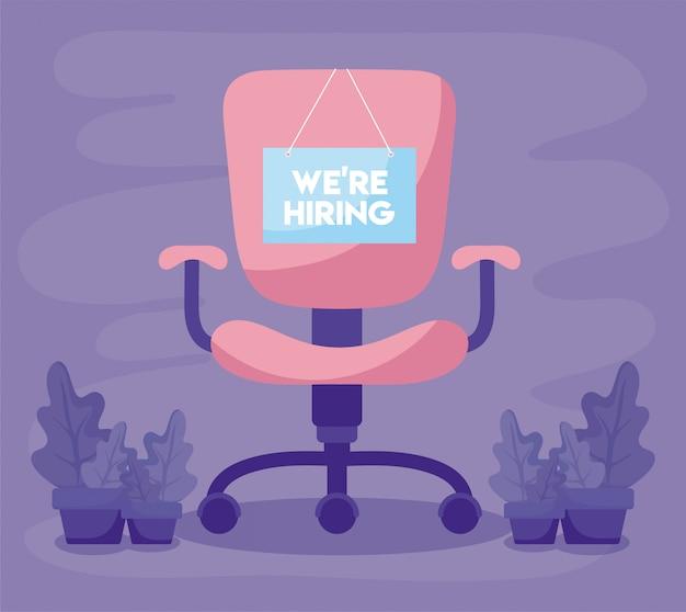 Estamos contratando mensaje con silla de oficina y plantas