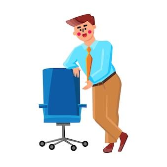 Estamos contratando a un nuevo colega en el vector de la empresa. boss ceo apoyado en la silla de oficina contratando e invitando a los empleados a sentarse. personaje empresario reclutamiento ocupación plano dibujos animados ilustración
