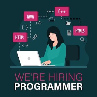 Estamos contratando una plantilla de vacante de trabajo de programador con una mujer que trabaja en la ilustración de una computadora portátil