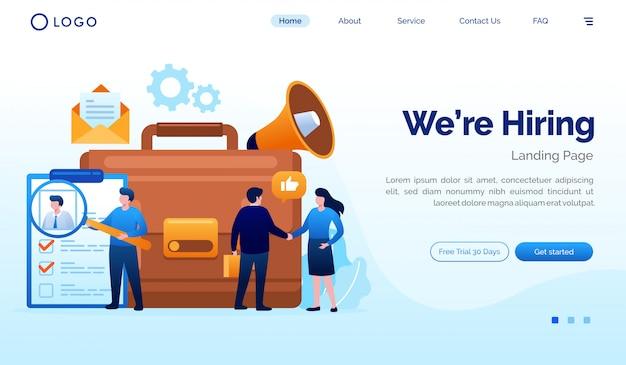 Estamos contratando plantilla de vector de ilustración de sitio web de página de destino