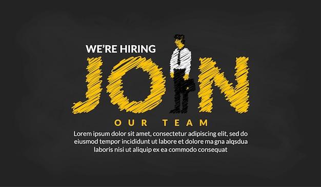 Estamos contratando reclutadores letras con concepto de vacante de trabajo de fondo de empresario