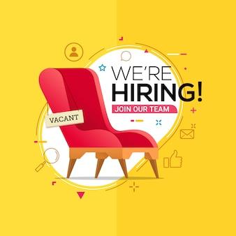 Estamos contratando con silla de oficina y un cartel vacante