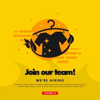 Estamos contratando, únete a nuestro equipo, plantilla de banner con ilustración de lavandería.