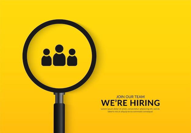 Estamos hring póster con lupa fondo de vacante de trabajo mínimo para publicación en redes sociales