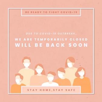 Estamos temporalmente cerrados plantilla de coronavirus