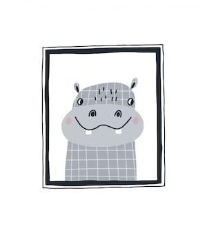 Estampado de bebé con un lindo hipopótamo en el marco. dibujado a mano ilustración vectorial en diseño de estilo escandinavo para niños.