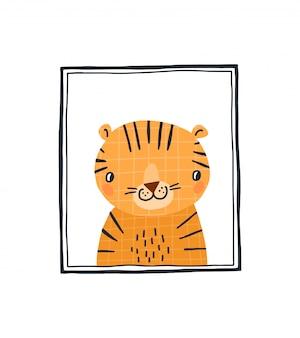 Estampado de bebé con un tigre lindo en el marco