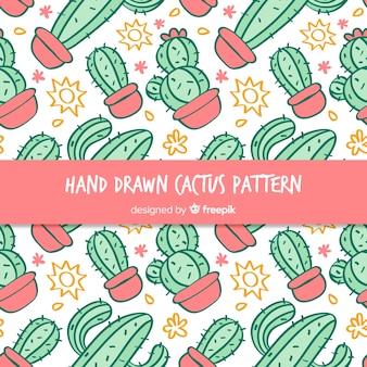 Estampado de cactus dibujado a mano