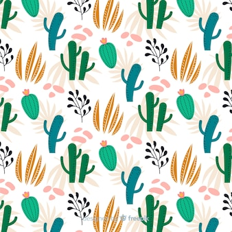 Estampado de cactus en diseño plano