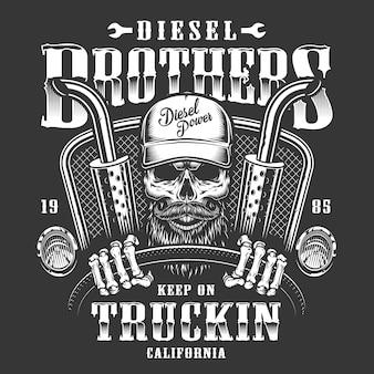 Estampado de calavera camionero