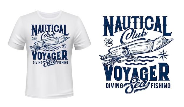 Estampado de camiseta de calamar marino. calamar oceánico o sepia grabada ilustración y tipografía.