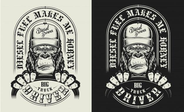 Estampado de camiseta con concepto de gorila