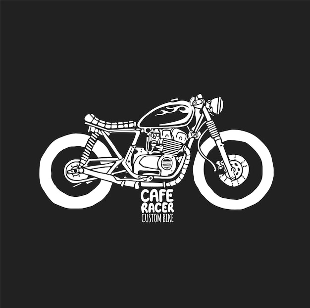 Estampado de camiseta dibujada a mano de motocicleta vintage cafe racer.